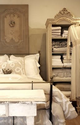 Our bedding department; as seen in Romantic Homes magazine, 2009