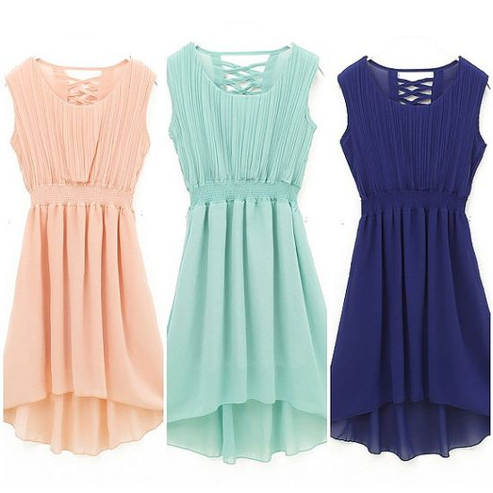 Korean women fashion chiffon dress 6 color Polka Waist Mini dress with Cascading Ruffle