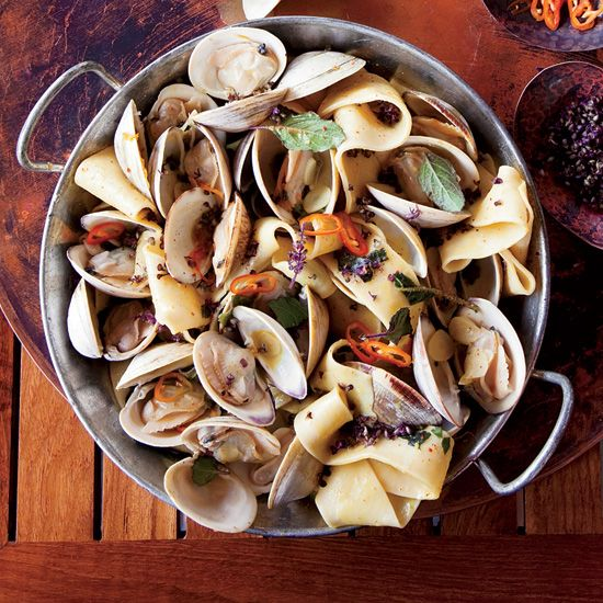 Pappardelle with Clams, Turmeric and Habaneros // More Tasty Clam Recipes: www.foodandwine.c... #foodandwine #vday #valentines