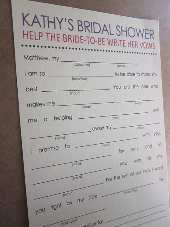 Bridal shower game--love it!