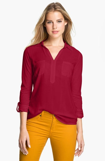 Two by Vince Camuto Mixed Media Shirt #Nordstrom
