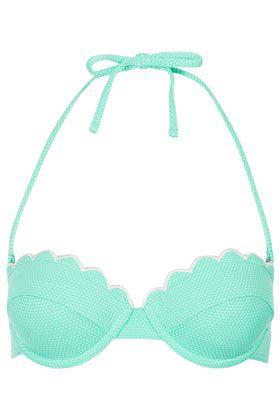 Mint Scallop Bikini Top