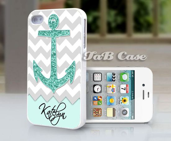 Personalized Mint Glitter Anchor  iPhone 5 or iPhone 4 Case. FREE SHIPPING - Worldwide.. $15.99, via Etsy.