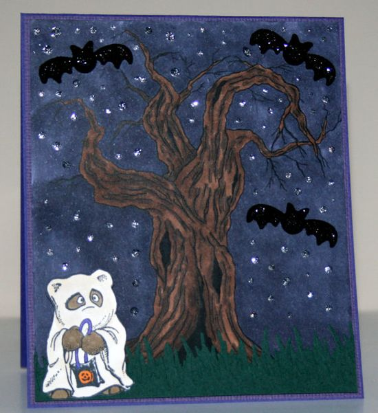 Handmade Halloween card with scared bear ghost by rbowen on Etsy, $3.35