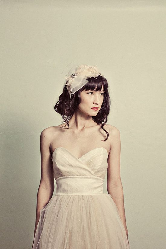 Gold Sweetheart Strapless Tulle Dress- perfect for a retro wedding