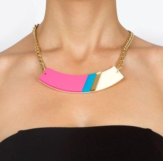 Neon Pink Geometric Statement NecklaceChokerPlexiglass by bugga, $35.00