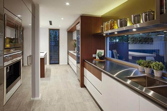 Kitchen at modern house design two storey Modern House Design with Two storey