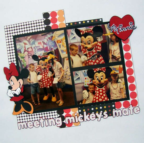 meeting Minnie, Disney scrapbook layout