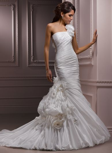 Trumpet / Mermaid One Shoulder Chapel Train Charming Taffeta with lace-up back wedding dress