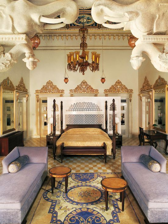 Taj Lake Palace, Udaipur, India    This suite is aptly named Chandra Prakash, which means Luster of the Moon. The crown jewel of a 250-year-old pleasure palace constructed by Maharana Jagat Singh II in 1746, this suite was later used as the court of Maharana Bhopal Singh in the 1930s. Gilt moldings, sinuously carved marble and intricate ceiling frescoes add to the suite's elaborate decoration. Situated on an island in India's Lake Pichola