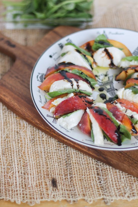 Peach Caprese Salad...summer spin on caprese! #peach #caprese #salad #summer #food #recipe #foodie #delicious