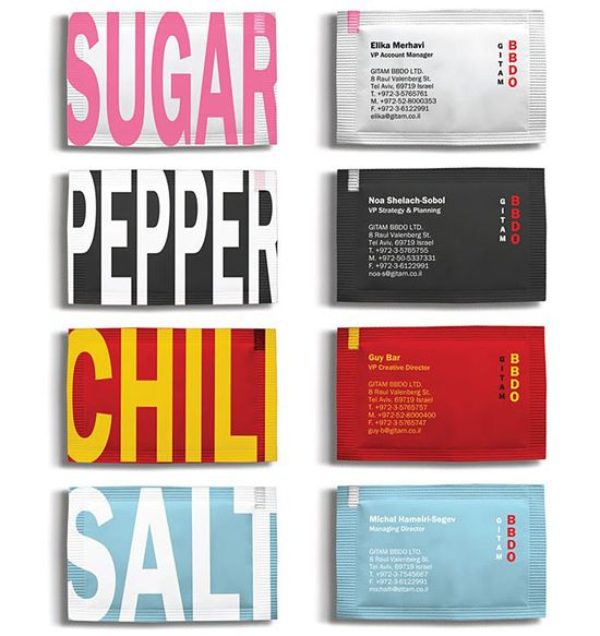 business card condiments