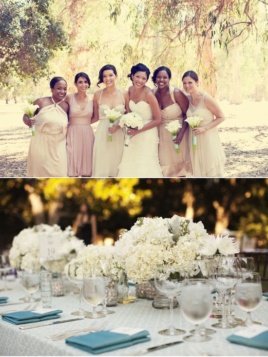Bridesmaids dresses! And the lovely tablescape