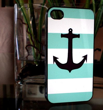 Nautical Mint Green Iphone 4 Hard Case, Iphone 4s Case, Iphone Case. $9.99, via Etsy.