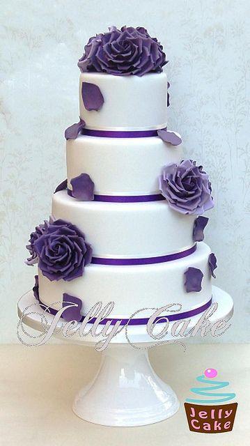 Purple Roses Wedding Cake by www.jellycake.co.uk, via Flickr