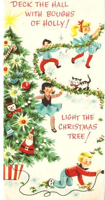 Cute Children Vintage Christmas Card