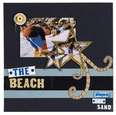 """The Beach"" Scrapbook Page Layout"