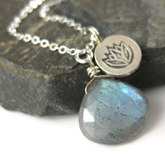 Lotus Charm Necklace  Labradorite Gemstone and by MelissaAbram, $33.00