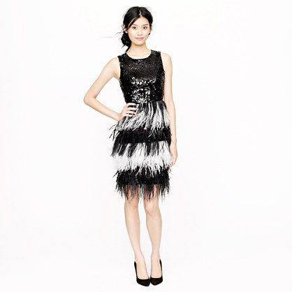 Collection sequin feather dress