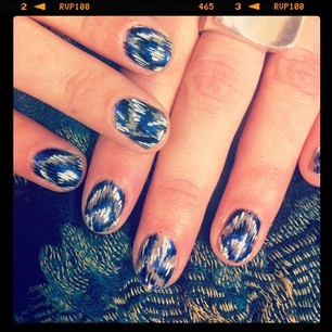 Our photo editor (and resident DIY guru), Christy's ikat nail art