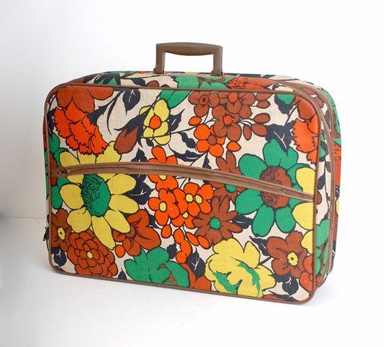 Vintage Flowered Suitcase