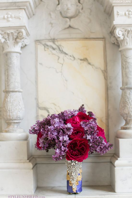 Flirty Lavender Lilac Bridal Bouquet with Pink Cabbage Roses / Jessica Claire / Bloom Box / via StyleUnveiled.com