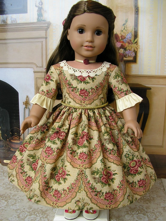 American Girl mid-1800s ensemble - 'Golden Garlands', 4 pieces, including slippers via Etsy.
