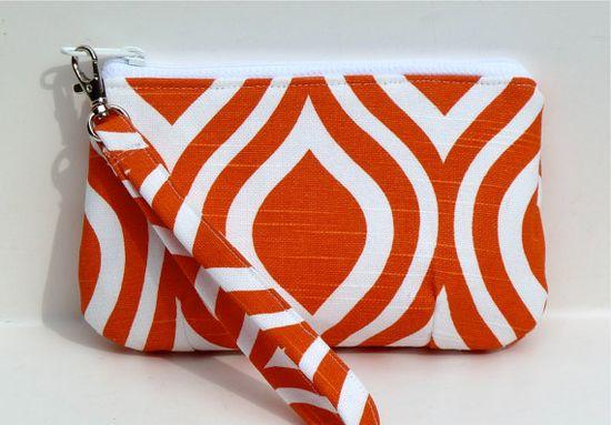 Wristlet/Zippered Pouch Makeup Bag Orange by nangatesdesigns, $18.00
