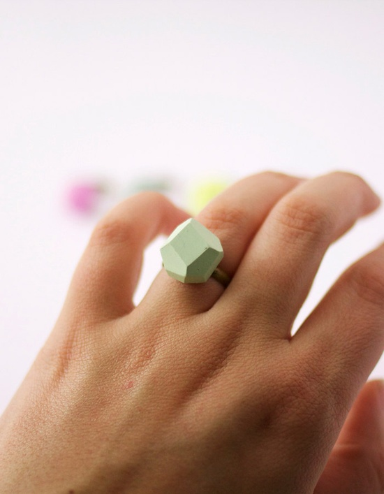 pale mint geo ring by amerrymishap on Etsy, via Etsy.