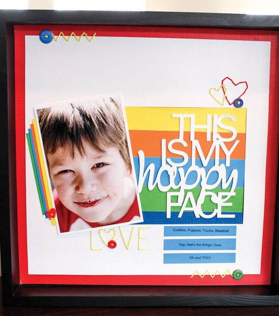 "#papercraft #scrapbook #layout Love this! ""This is my happy face"" layout idea from @DCWV Inc. Inc. Inc. Inc. Inc. Inc. Inc. Inc. Inc. Inc. Inc."