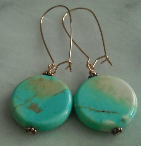 Turquoise disc earrings by NickisDesigns on Etsy, $15.00
