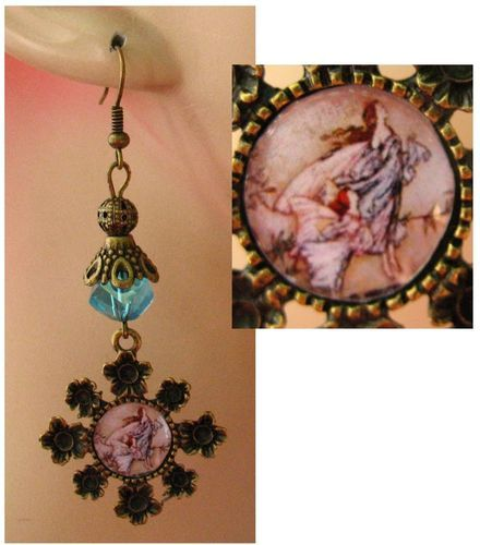 Burnished Gold Rackham Fairy Glass Charm Earrings Handmade Jewelry Fashion