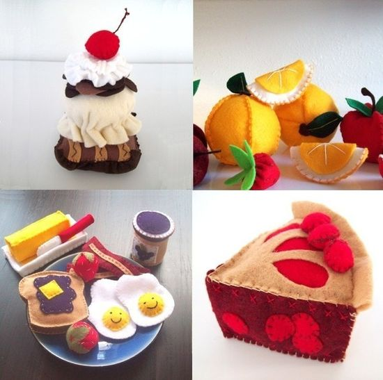 PDF Felt Toy Patterns - 5 Food Patterns you choose Fruit, Veggies, Cake, Tea Set and More $24.00
