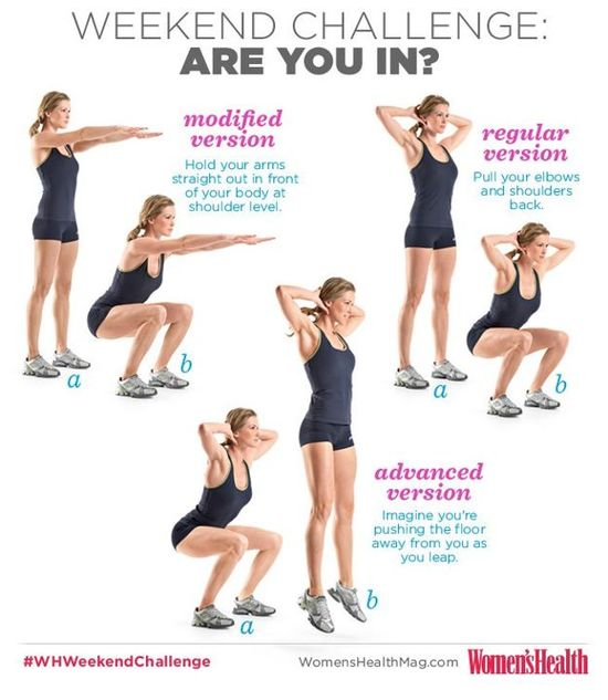 Squats! Do 3 sets of 10 squats (any version) before each meal. While squats target your quads, they also activate your core and just about every muscle in your lower body, including your glutes, hamstrings, and calves.