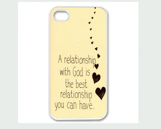 Apple iPhone 4 4G 4S 5 Case Cover Relationship with God Inspirational Quote Cute Design. $15.00, via Etsy.