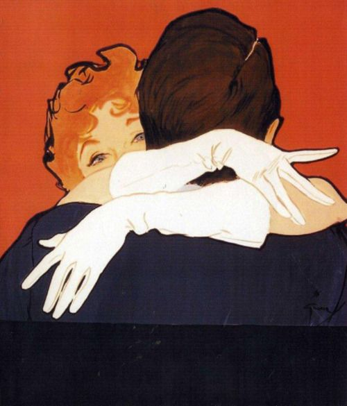 Rene Gruau  Advertisement for Crescendoe Gloves 1952