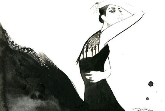 Watercolour Fashion Illustration, Black Magic Woman by JessicaIllustration