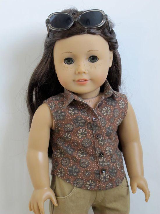 18 inch American Girl Doll Clothing Sleeveless button down shirt