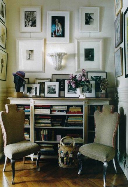 Hamish Bowles / Francois Halard / World of Interiors {eclectic vintage modern nook} by recent settlers, via Flickr