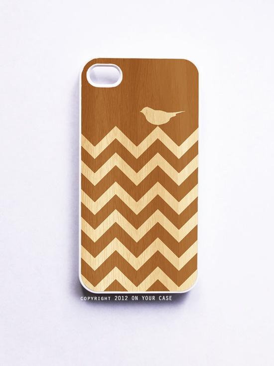 Wood Grain Chevron Bird for #iphone 4