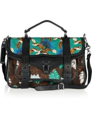50 Dream Handbags: Proenza schouler ps1 medium printed canvas and leather satchel, $1,855 #handbags, #handbags galore, #purse, #shoulder bag, #evening bag, #traveling bag.