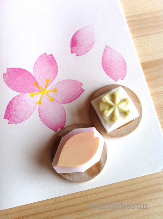 cherry blossom rubber stamps sakura hand carved by talktothesun