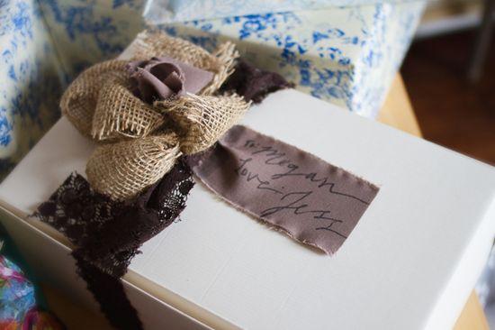 Vintage Chic Inspired Bridal Shower. DIY gift bow - LOVE! #bridal #shower #burlap #diy #crafts