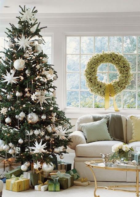 white wreath; tree w/silver ornaments