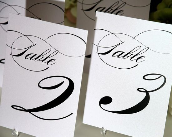 ? Black & White Table Numbers
