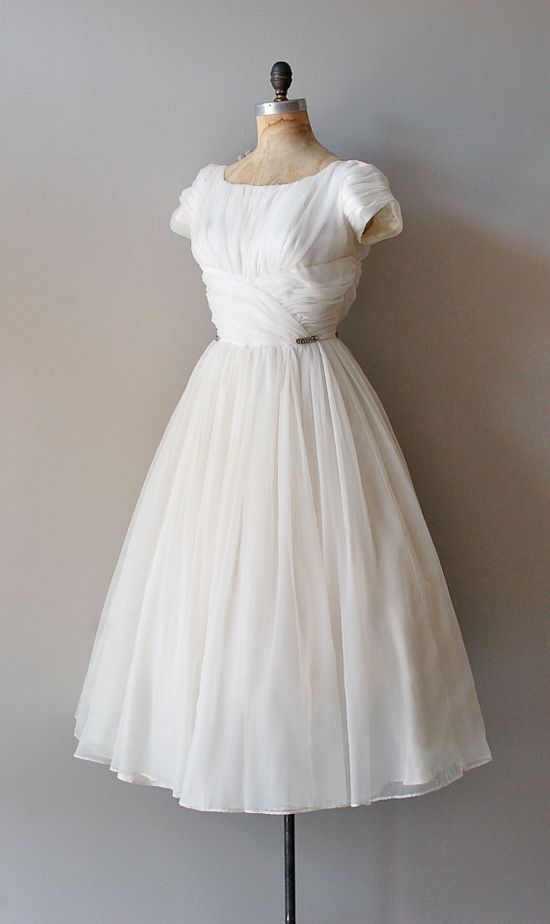 50s layered chiffon dress