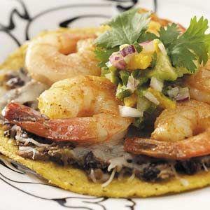 Shrimp Tostadas with Avocado Salsa - looks delish!