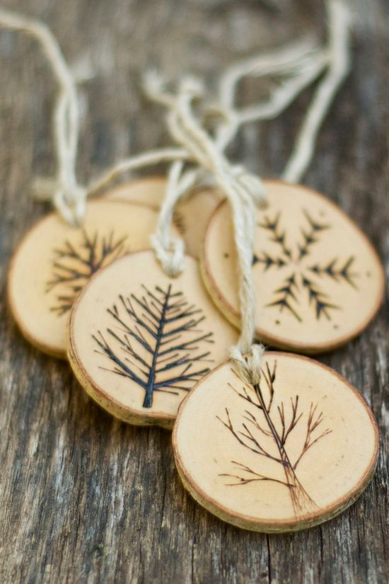 Tree Branch Christmas Ornaments - Wood Burned Trees and Snowflakes - Rustic, Natural and Eco Friendly -Set of 5. $40.00, via Etsy.