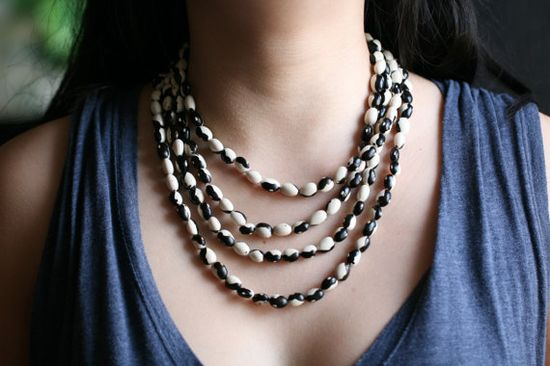 Turn beans into jewelry.