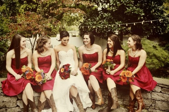rustic bridesmaid dresses with cowboy boots | Southern Rustic Charm | Weddings at CJ's Off the Square